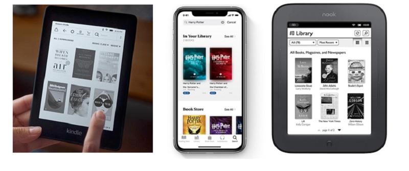 Trei dispozitive de citire - 3 librării diferite din care cititorii își pot achiziționa cărțile