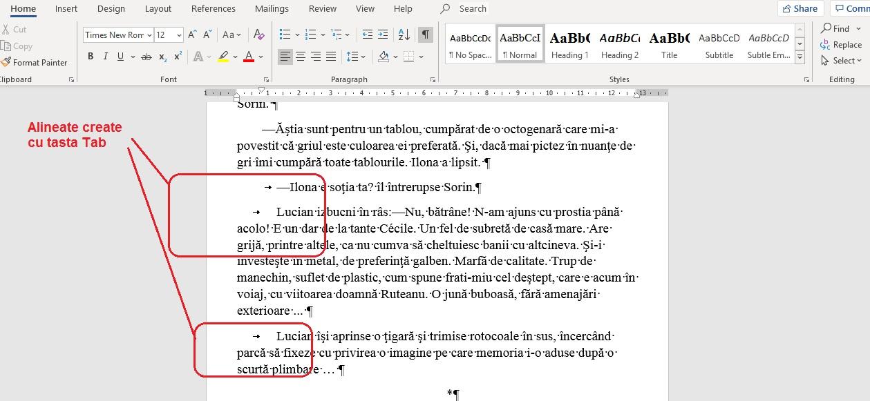 alineata și paragrafe create cu tasta Tab