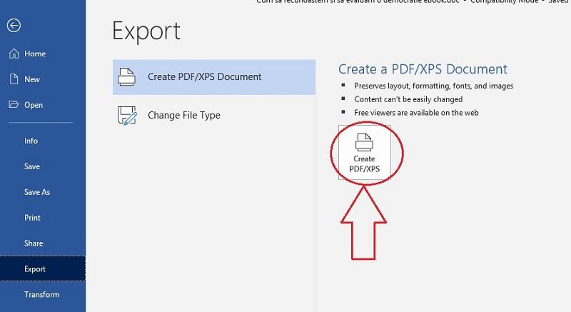 Publicare carte -creează PDF