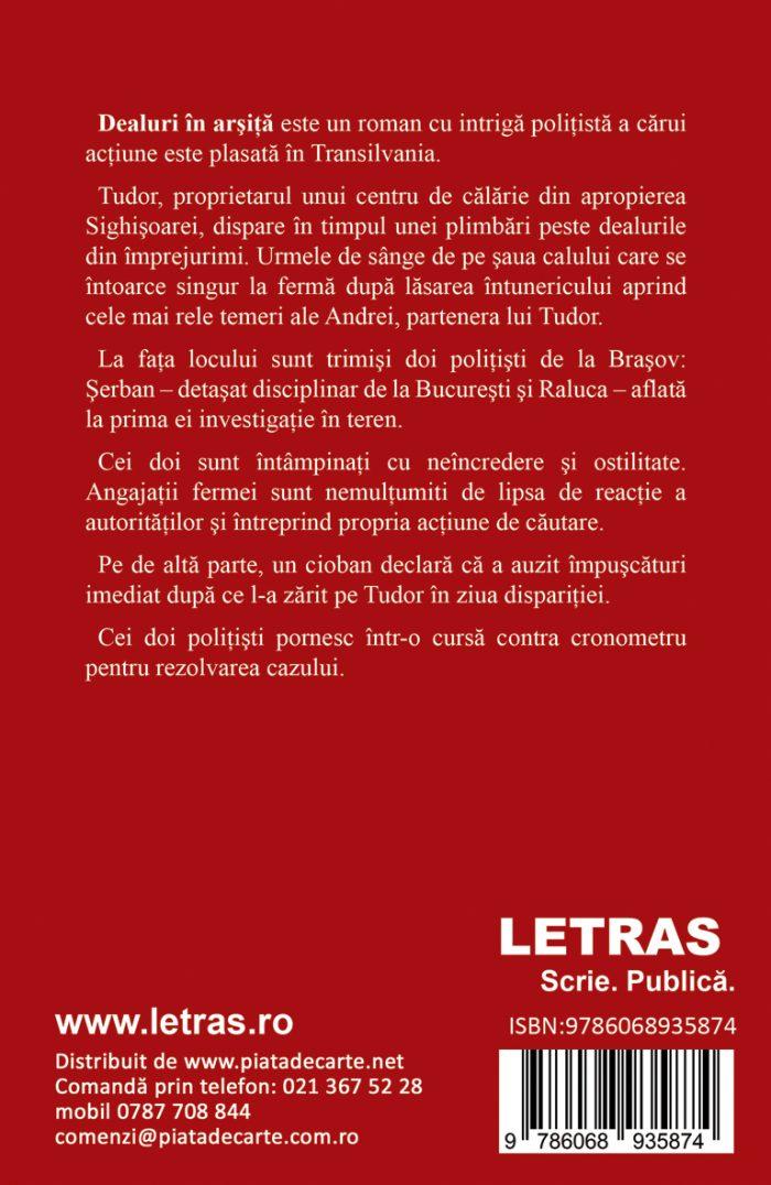 Dealuri in arsita - coperta 4 - Floruna Popescu - Editura Letras