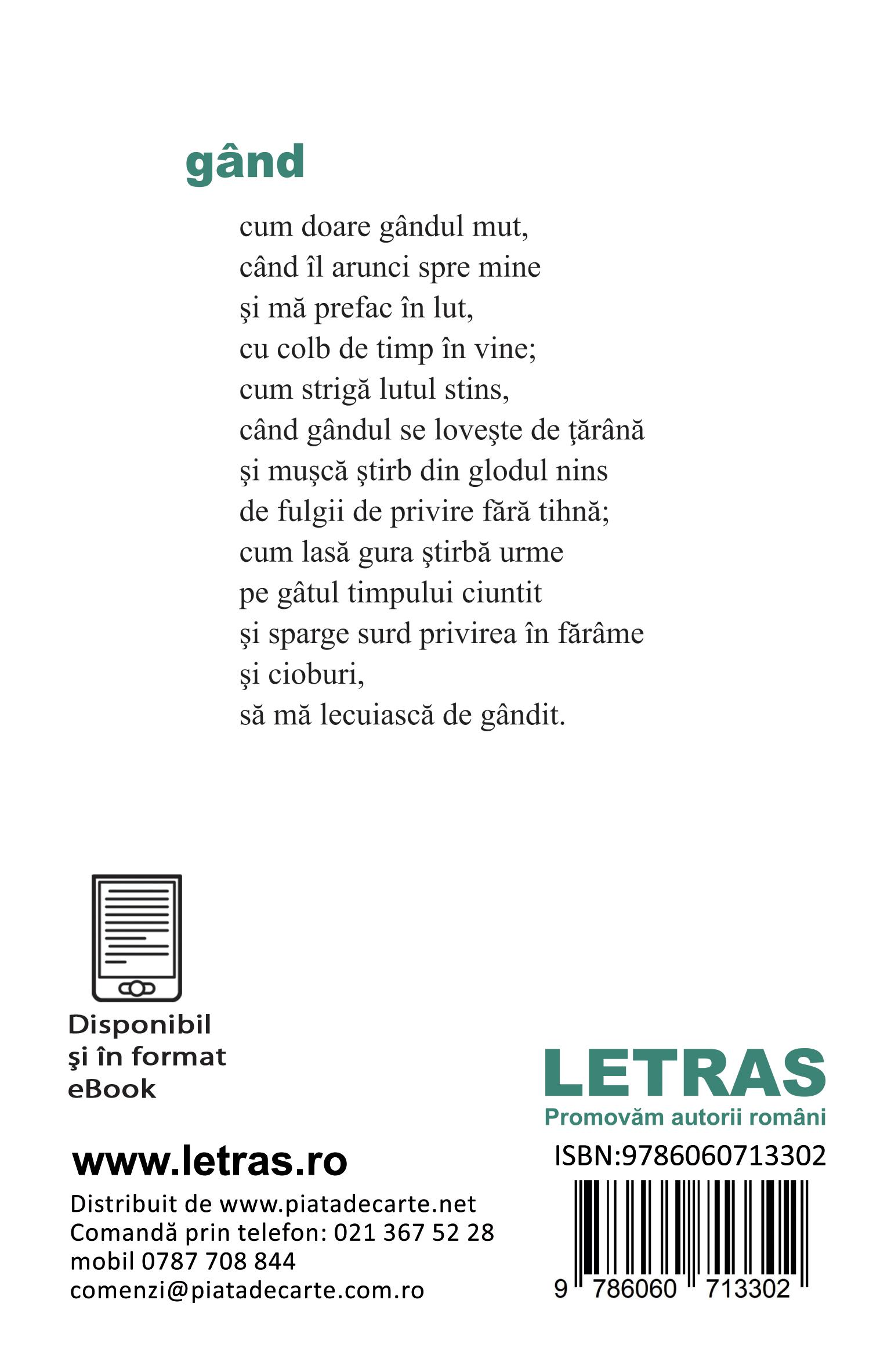 coperta 4 - Zei de lut - poeme - (ed. tiparita) - Autor: Silvia Osman